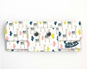 Vinyl lange Brieftasche - Alpaka / Lama, Vegan, hübsche, große Brieftasche, Kupplung, Kartenetui, Vinyl Brieftasche, groß, süß, Kakteen, Sukkulenten, lang