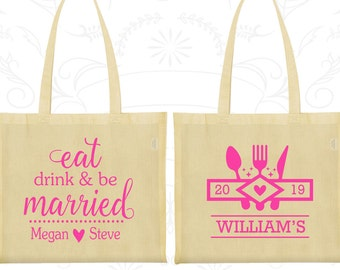 Eat Drink and Be Married Bags, Promotional Bags, Picnic Wedding Bags, Outdoor Wedding Bags, Custom Tote Bags (427)