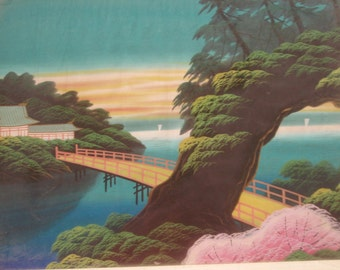 Asian Silk Painting, Oriental Painting on silk  Vintage collectible silk painting of landscape in frame, under glass