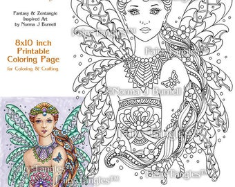 Punzella - Fairy Tangles Printable Coloring Book Pages and sheets by Norma J Burnell Adult Printable Coloring Pages Digital Coloring Files