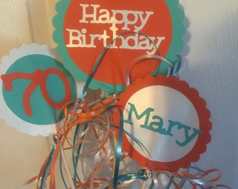 70th Birthday Decorations  3 piece Centerpiece Sign Set with  Personalized Text