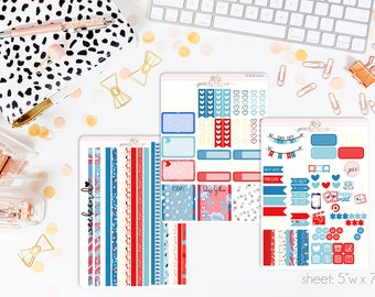 4th of July HORIZONTAL Weekly Kit // 130+ Matte Planner Stickers // Perfect for your Erin Condren Life Planner // WKH0200