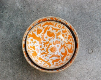 Ceramic serving bowls set, Housewarming gift, Decorative bowls, Anniversary gifts, Handmade pottery, Wedding gifts, pottery bowls, Fox bowl