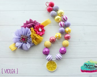 Spring necklace or baby headband { Violet Lemonade } purple, yellow, flower garden festival, outfit birthday cake smash photography prop