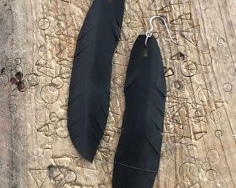 Rubber innertube feather earrings - narrow