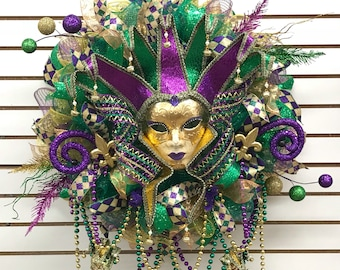 Mardi Gras wreath, Mardi Gras deco mesh wreath, Fat Tuesday Wreath, deco mesh wreath, Fat Tuesday deco mesh wreath