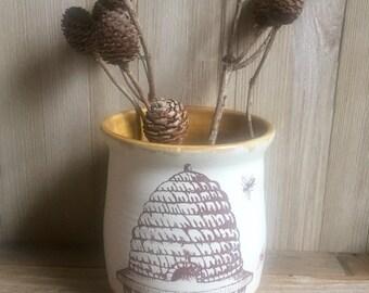 Bees and bee skep crock, kitchen tool holder, herb planter, honey bee utensil holder, stoneware cannister. Handmade kitchen crock.