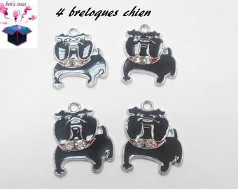 4 charms enamel dog Black 2.5 x 2.5 mm
