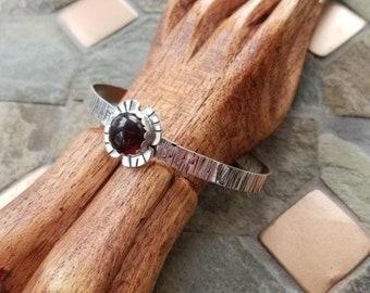 Amber Tree Bark Sterling Silver Cuff Bracelet - Amber Cuff - Tree Bark Cuff - Stamped Jewelry - Nature Inspired