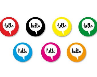 Lot Pins Ø25mm - o38mm Pinback Button Badge / Magnet o38mm Happybulle Hello