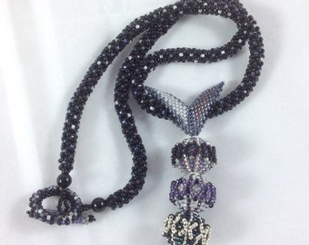 Black, Silver and Purple Beaded Bead Pendant Necklace... EBW Team