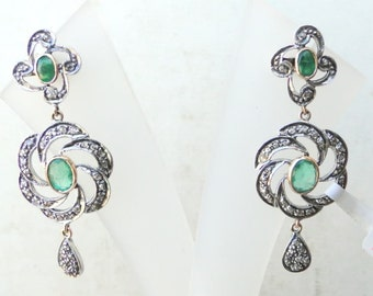 Boucle d'oreille en argent victorienne diamant et émeraude or 14 carats