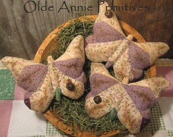 EPATTERN -- Primitive Butterfly Tucks Quilt Top Bowl Fillers Calico Ornies TWO STYLES