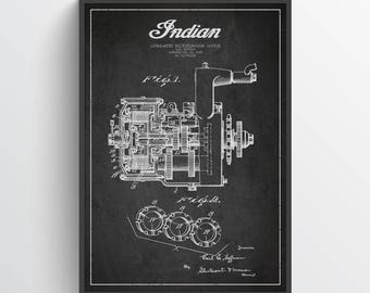 1929 Indian Motorcycle Patent Wall Art Poster, Indian Poster, Indian Print, Home Decor, Gift Idea, TRBM11P