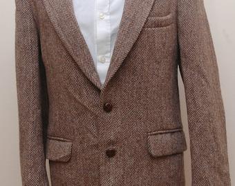 Mens Brown Herringbone Harris Tweed Jacket 40 in chest