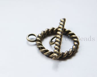6 Sets Antique Brass Tone Base Metal Toggle Clasps (16336Y-G-309)
