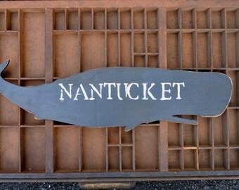 Large Handmade Wood Whale  Sign Wall Art Shape Decor Black Nautical Coastal Nantucket
