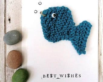 Fish card; removable fish magnet; fish gift; knitted  fish birthday card; eco friendly gift; fish accessory , unique card, fishing card