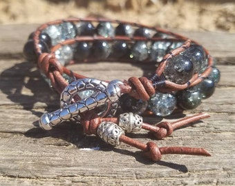 Black/Clear Leather Double Wrap Beaded Bracelet