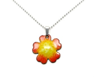 Small Flower Necklace - Orange and Yellow Flower Pendant on Delicate Sterling Silver Chain - Jewelry Gift for her