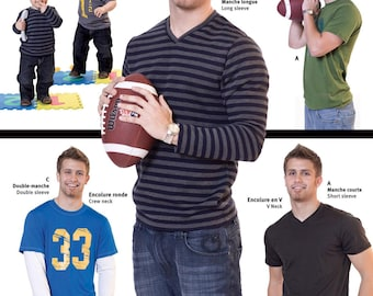Jalie 2918 Men's and Boys' T-Shirts Crew or V-Neck Sewing Pattern in 27 Sizes