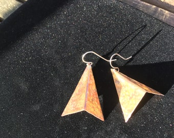 Textured copper triangle 3D earrings!