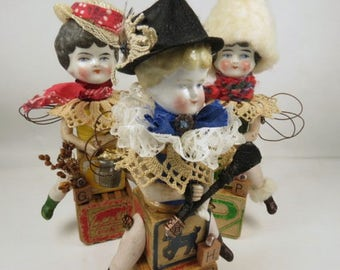 "Art Doll, ""Hester"", Assemblage Doll with Antique Doll Parts and Vintage Blocks,"
