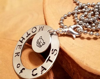 Mother of Cats hand stamped layered aluminum washer and disc pendant necklace perfect for kitty moms
