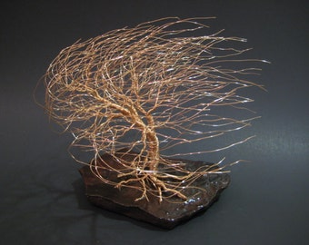 Wire Tree Sculpture of Windswept Willow In Gold