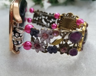 Pinks and purples 22mm smart watch band