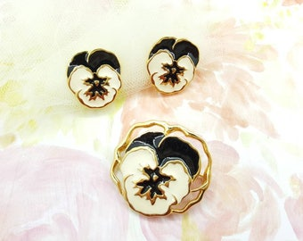 Avon Full Bloom Pansy Brooch and clip earrings 1990  Black and Cream  Blooming Flowers set
