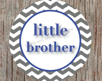 Little Brother Tshirt Big Brother Iron on Transfer INSTANT DOWNLOAD Printables Blue Grey Chevron Custom Iron on Transfers for Siblings - 002