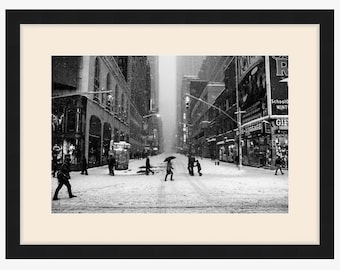 Framed Photo, Blizzard in NYC, New York Photography, Black and White, Winter Storm Jonas, New York