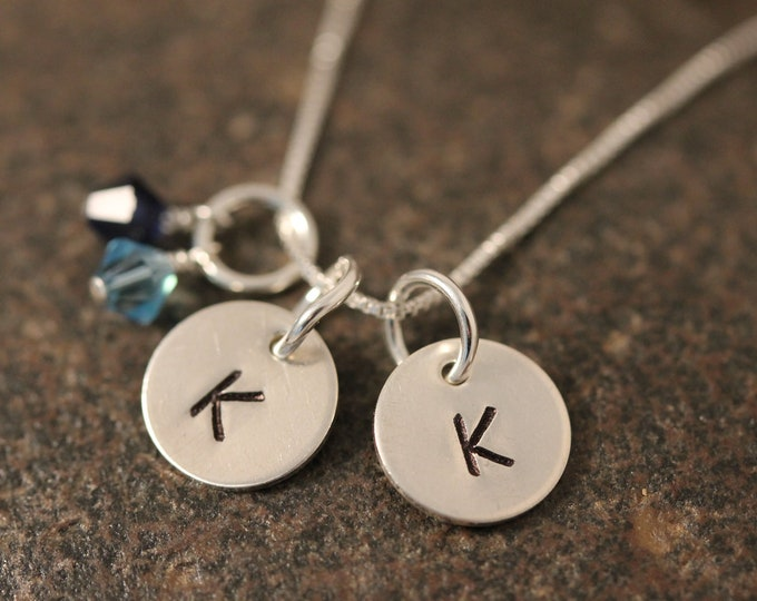 Sterling SIlver Mini Initial Hand Stamped Necklace with 2 disks and 2 birthstones