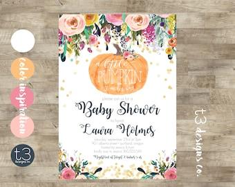 Girl Little Pumpkin Baby Shower Invitation, girl baby shower invite, pumpkin baby shower invite, fall baby shower, pumpkin watercolor