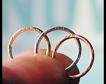 Rose Gold Nose Ring /14 Karat Solid Textured Style Gold Nose Ring / Dainty Nose Ring / 24G / 22G / 20G / 18G - CUSTOMIZE