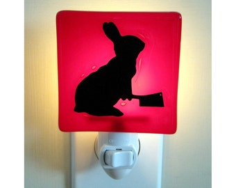 Funny Rabbit Night Light - Bunny with a Meat Cleaver - Gift for a Friend