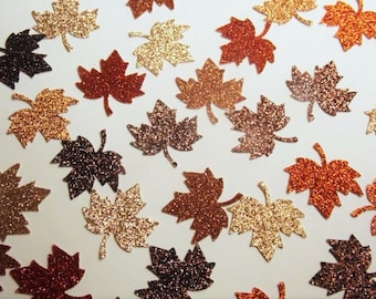 Fall Table Decorations, Leaf Confetti, Glitter Leaves, Fall Wedding Decor, Wedding Reception, Bridal Shower Brown Orange Leaves