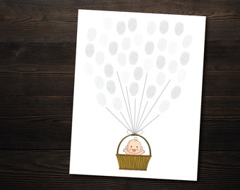 Gender Neutral Baby Shower Guestbook // Grey Printable Thumbprint Guest Book // 8.5x11 // Pink, Blue, Gray & DIY version included