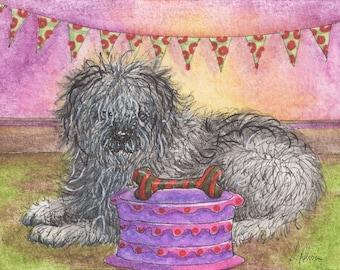 Old English Sheepdog 8x10 inch art print by Susan Alison bobtail OES Dulux dog happy birthday cake party bunting bone present wrapped shaggy
