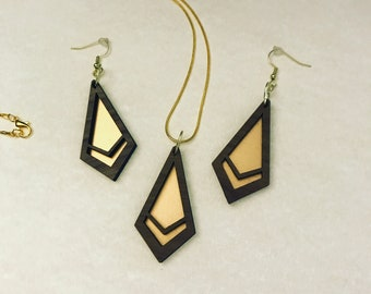 Geometric Gold Acrylic and Walnut Necklace and Earring Set