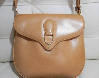 Authentic GUCCI-Supple Camel Calfkin Leather-Equestrian Horse bit-Double Sided Purse-Convertible-Leather Lined
