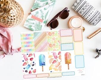 NEW FORMAT / Summer Big Happy Planner Stickers / Popsicle Stickers / Planner Stickers / Summer Planner Stickers / Weekly Sticker Kit / BHP68