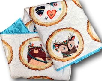 Woodland Baby Quilt, Animal Baby Blanket, Woodland Blanket, Animal Quilt, Animal Baby Quilt, Woodland Nursery, Woodland Animals Nursery