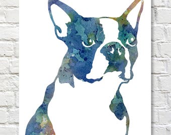 Boston Terrier Art Print - Abstract Watercolor Painting - Wall Decor