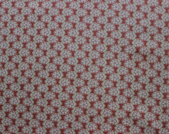 45 X 95 Dark Peach and Ivory Modern Floral Cotton Fabric Remnant
