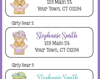 Girly DIVA BEARS PersonalizedReturn ADDRESS Labels, Teddy Bears, Sets of 30