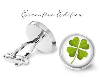 Lucky Four Leaf Clover Cufflinks - St. Patrick's Day Cuff Links - Lucky Cufflink - 4 Leaf Clover (Pair) Lifetime Guarantee (S0159)