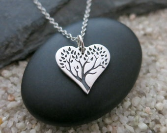 Tree of Life Heart Necklace, Sterling Silver Tree of Life Charm, Heart Jewelry, Tree Necklace