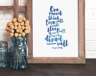 kitchen wall art, kitchen quote print, watercolor quote print, blue kitchen art, dining room art, gift for food lover, food art,